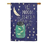 Breeze Decor H115124 Moon Stars Fireflies Jars Inspirational Expression Vertical House Flag, 28″ x 40″, Multicolor Review