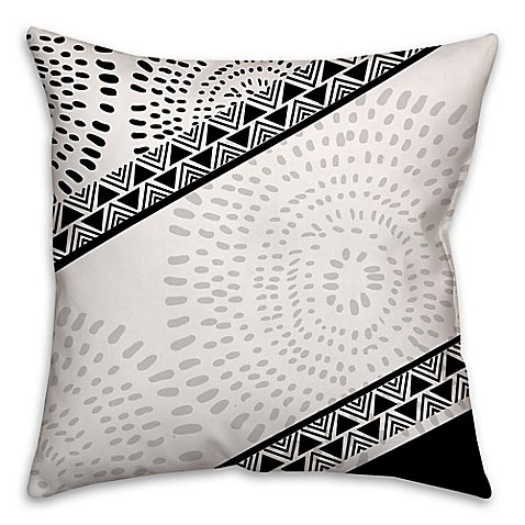 Striped Bohemian Tribal Square Throw Pillow in Black/White
