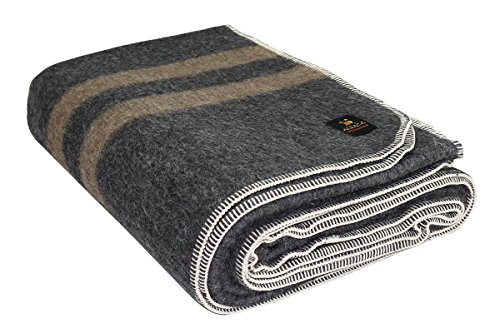 Price comparison product image Putuco Thick Alpaca Wool Blanket (Queen, Charcoal Gray - Soft Brown Stripes)
