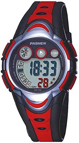 Kids Waterproof Sports Watch Boys Girls Led Digital Watches for Children,Rubber strap(Red)