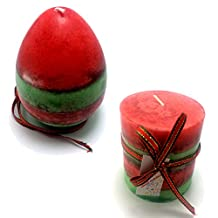 Holly Wretch Egg&Pillar Shaped Strawberry Cream with Japan Matcha Green Tea Multi-Colored Scented Candles Handmade by Littras for Valentine's Gift