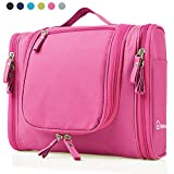 Heavy Duty Waterproof Hanging Toiletry Bag - Travel Cosmetic Makeup Bag for Women & Shaving Kit Organizer Bag for Men - Large Size: 10.2 x 4.5 x 8.5 Inch (Pink)