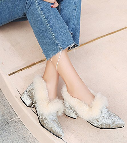 IDIFU Womens Sweet Fluffy Faux Suede Mid Chunky Heeled Pointed Toe Slip On Pumps Gray ExRDsI
