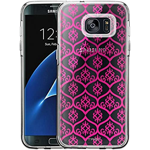 Samsung Galaxy S7 Edge Case, Slim Fit Snap On Cover by Trek Victorian Tileable Pink Clear Case Sales