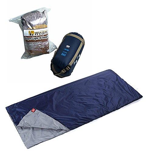Weanas Lightweight Compact Outdoor Camping Envelope Sleeping Bag, Comfortable Durable Waterproof, for Summer School, Sport, Adventurer, Hiking (Navy, Large)