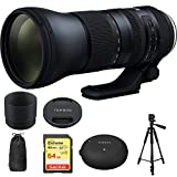 Tamron SP 150-600mm F/5-6.3 Di VC USD G2 Zoom Lens for Canon Mounts (AFA022C-700) with Sandisk 64GB Memory Card, TAP-In Console Lens Accessory for Canon Lens & Xit 60'' Full Size Photo / Video Tripod