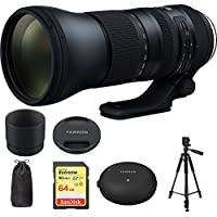 Tamron SP 150-600mm F/5-6.3 Di VC USD G2 Zoom Lens for Canon Mounts (AFA022C-700) with Sandisk 64GB Memory Card, TAP-In Console Lens Accessory for Canon Lens & Xit 60 Full Size Photo / Video Tripod