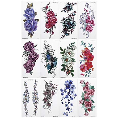 CCbeauty 12 Sheets Flower Temporary Tattoos For Women Rose Blossoms Body Art Waterproof Stickers