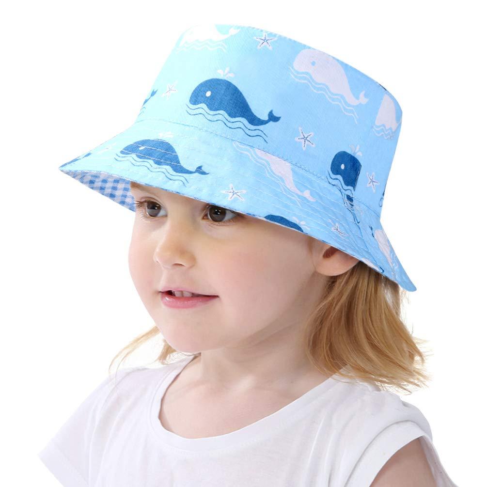 VBIGER Baby Sonnenhut Sonnenschutz Cap Baumwolle weicher Mütze Strandhut Kinder Sommerhut Netter Wal Wendehut für 1-6 Jahre Alt Jungen und Mädchen