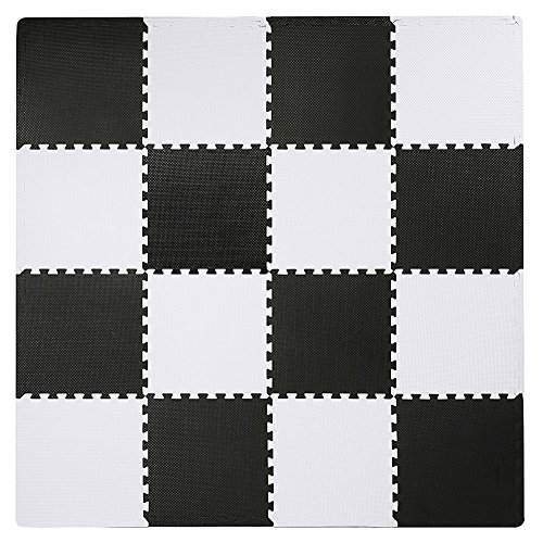 Interlocking Floor Tiles, Superjare 16 Tiles (16 tiles = 16 sq.ft) EVA Foam Puzzle Mat with Borders - Black and White - Black Square Flooring