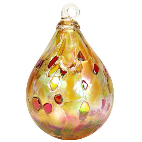 Glass Eye Studio Hand Blown Glass Raindrop Ornament - Dusty Gold (Decor Ornament Christmas Studio)