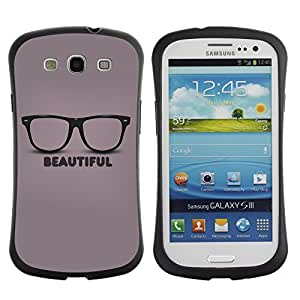 Hybrid Anti-Shock Bumper Case for Samsung Galaxy S3 / Beautiful Glasses Hipster wangjiang maoyi
