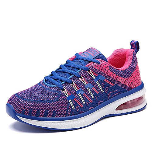 Unisex Zapatos Deportivos Air Zapatillas Running Plano Gimnasia Deportiva Sneakers Fitness Cordones Color Mixto Negro Azul Naranja Rosado 36-45 rosa