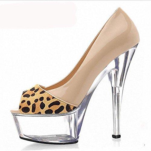 Printemps Eté Superfine haut talons léopard des femmes Imprimer Chaussures Bleu Patchwork Fish Mouth Nightclub Sandals simples , nude color , 41