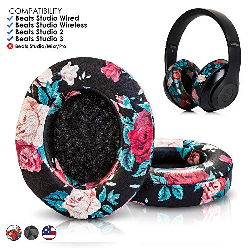 Upgraded Beats Replacement Ear Pads by Wicked Cushions - Compatible with Studio 2.0 Wired/Wireless and Studio 3 Over Ear Headphones by Dr. Dre ONLY (Does NOT FIT Solo) | Black Floral
