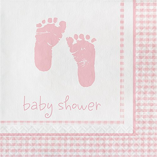 Creative Converting 192-Count Paper Luncheon Napkins, Baby Girl Plaid Pink