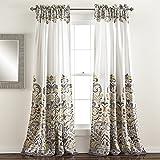 lush decor clara room darkening window curtain panel pair 84 inch x 52 inch grayyellow set of 2