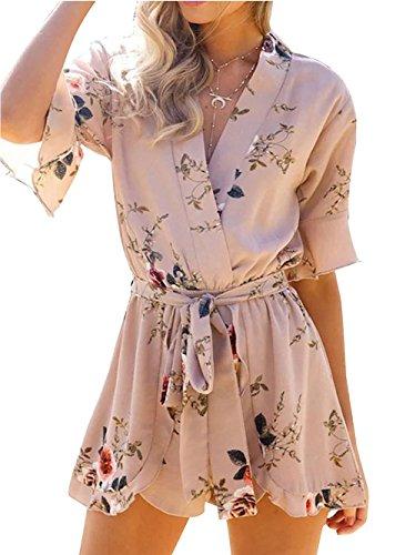 Women's Boho Floral Print Flare Sleeve Tie Waist Romper Jumpsuit Beachwear(S,Muti)