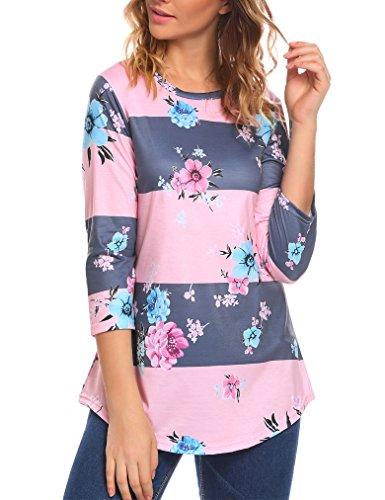 Sherosa Women's Casual Floral Print Tunic Loose Fitting Tops Three- quarter sleeve T-Shirt (XXL, Pink) (3 Quarter Sleeve Tee)