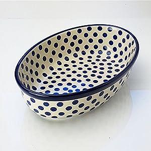 Polish Pottery Oval Oven Serving Dish – Small Blue Polka Dot – 24 x 16cm
