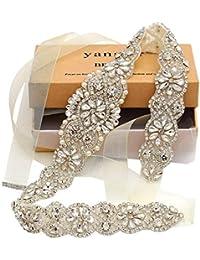 Bridal Belt Hand Rhinestone Wedding Belt Clear Crystal 22In Length with White Organza Ribbon for Wedding Dress