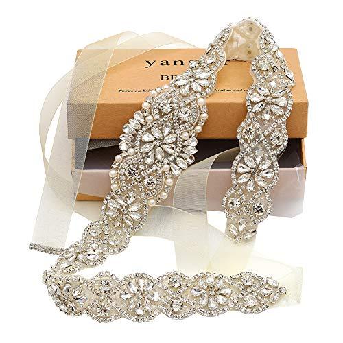 Yanbstar Bridal Rhinestone Wedding Belts Hand Clear Crystal 22In Length with Ivory Organza Ribbon for Bridal Gowns