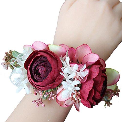USIX 2pc Pack-Handmade Satin Tea Rose Peach Blossom Wrist Corsage for Girl Bridesmaid Wedding Wrist Corsage Party Prom Flower Corsage Hand Flower(Red) - Tea Girl Blossom
