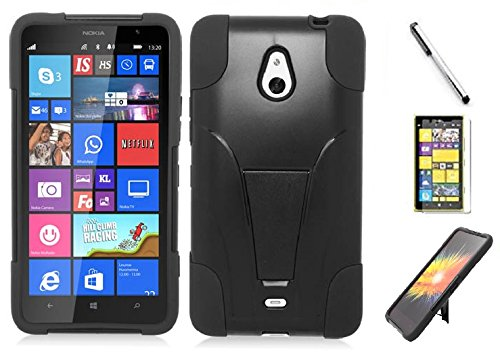 Nokia Lumia 1320 case, Luckiefind Premium Hybrid Dual Layer Case with Stand, Stylus Pen, Screen Protector Accessory. (Stand Black)