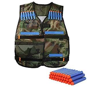 Protector impermeable chaleco táctico Elite con 100 PC azul dardos Nerf N-strike Elite serie Colorido