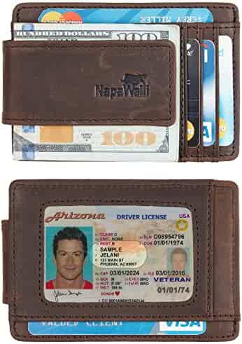 Toughergun Genuine Leather Magnetic Front Pocket Money Clip Wallet RFID Blocking (Crazy Horse Coffee)