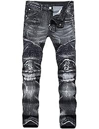 Men's Ripped Slim Straight Fit Moto Biker Jeans Zipper Deco