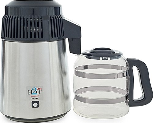 H20Labs Best-in-Class Stainless Steel Water Distiller with Glass Carafe