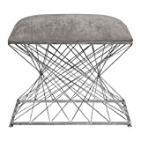 Modern Open Silver Metal Rods Accent Bench | Gray Stool Architectural Retro
