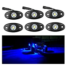 LED Rock Light Kits Blue for JEEP Off Road Truck Car ATV SUV Under Body Glow Light Lamp Trail Fender Lighting Car ATV SUV (Pack of 6)