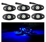 LED Rock Light Kits Blue for JEEP Off Road Truck Car ATV SUV Under Body Glow Light Lamp Trail Fender Lighting Car ATV SUV (Plug and Play, Easy Installation-Pack of 6)