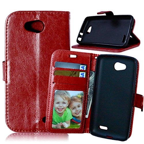 Optimus L90 Flip Case, TOMYOU [Free Charger Cable] PU Leather Wallet Case with Card Slots and Stand for LG Optimus L90 (D405 D415 D410) (Brown) (Phone Case Charger Lg Optimus)