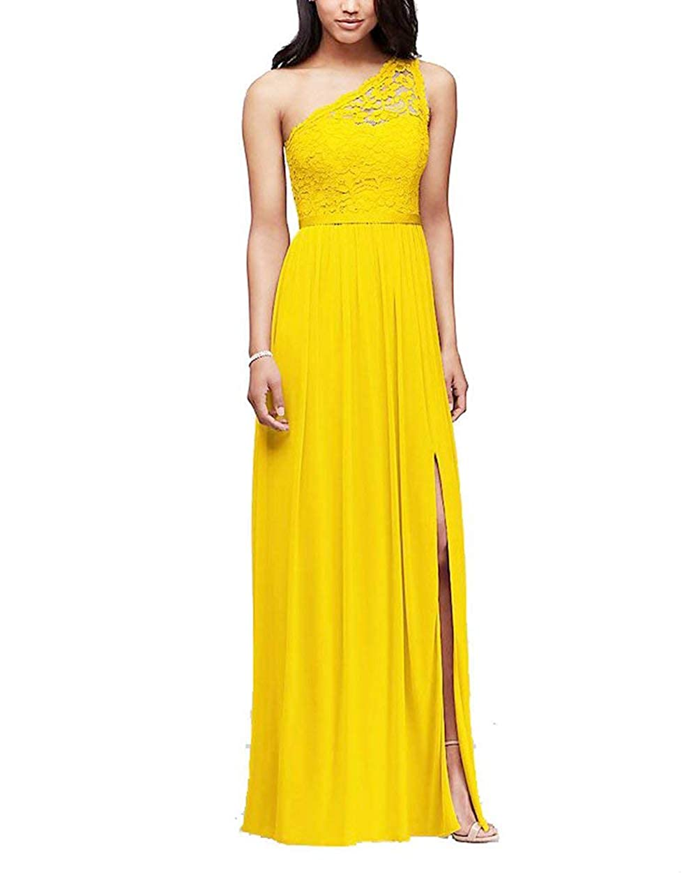 Meaningful One Shoulder Lace Chiffon Bridesmaid Dresses Side Slit Formal Evening Prom Gown