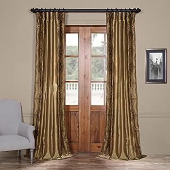 half price drapes embroidered faux silk curtain chai