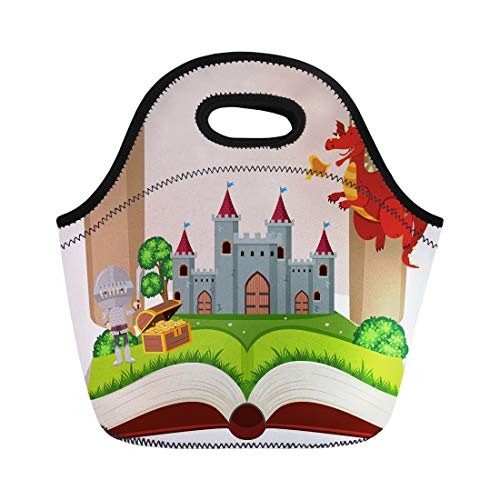 Semtomn Lunch Bags Book Artistic Storybook Knight and Castle Beast Clip Clipart Neoprene Lunch Bag Lunchbox Tote Bag Portable Picnic Bag Cooler Bag