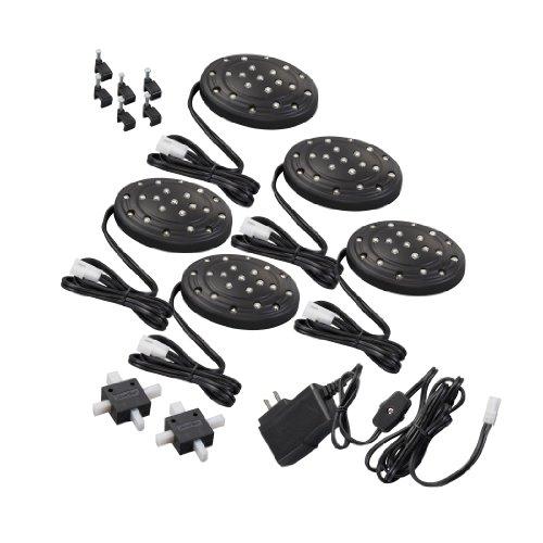 Amertac LED52LB LED Slimline Puck, Black, 5-Pack by AmerTac