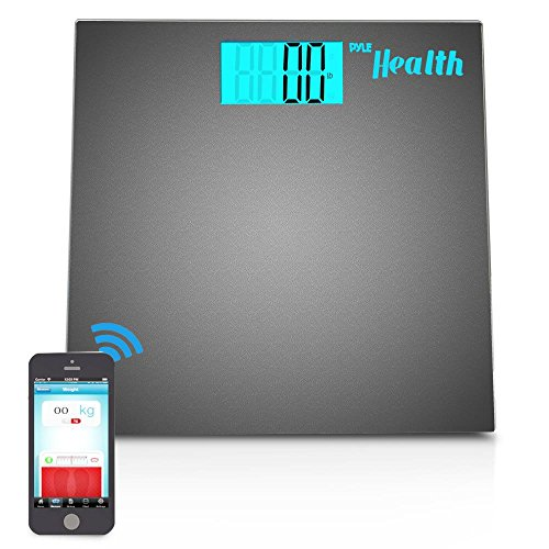 Pyle Smart Bathroom Body Scale with Bluetooth Wireless Smartphone Tracking for iPhone iPad & Android Devices (Black)