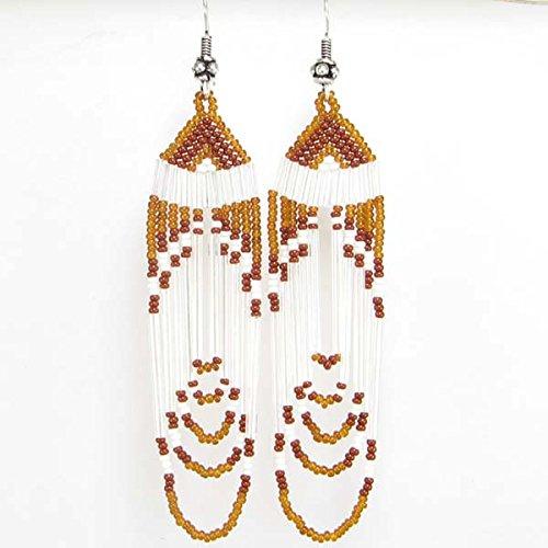 Viva Handmade White Brown Bugle Seed Beads Beaded Chandelier Earrings- E-14-SB-40