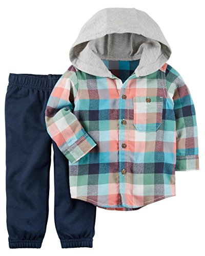Carter's Baby Boy 2-Piece Hooded Button-Front & French Terry Pant Set (6 Months, Blue)