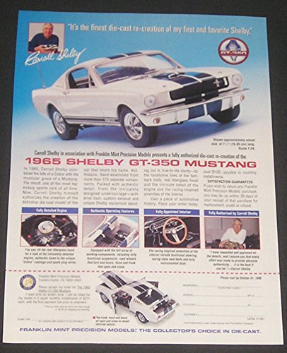 1998 The Franklin Mint MAGAZINE ADVERTISEMENT, 1965 Shelby GT-350 Mustang Sports Car Illustration, Original Print Ad / Collectible Paper Ephemera (Mint Franklin Collectible Cars)