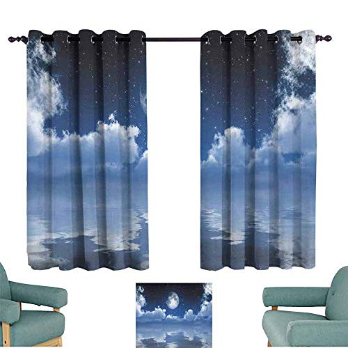 - HCCJLCKS Sliding Curtains Ocean Scene of Mystic Full Moon with Majestic Cloudscape Reflected on The Sea Set of Two Panels W55 xL39 Dark Blue and White