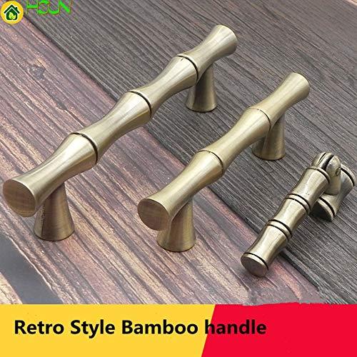 64mm 96mm Retro Style Antique Brass Kitchen Cabinet Dresser Bamboo Handle Bronze Pendant Drawer Cupboard Pull 2.5
