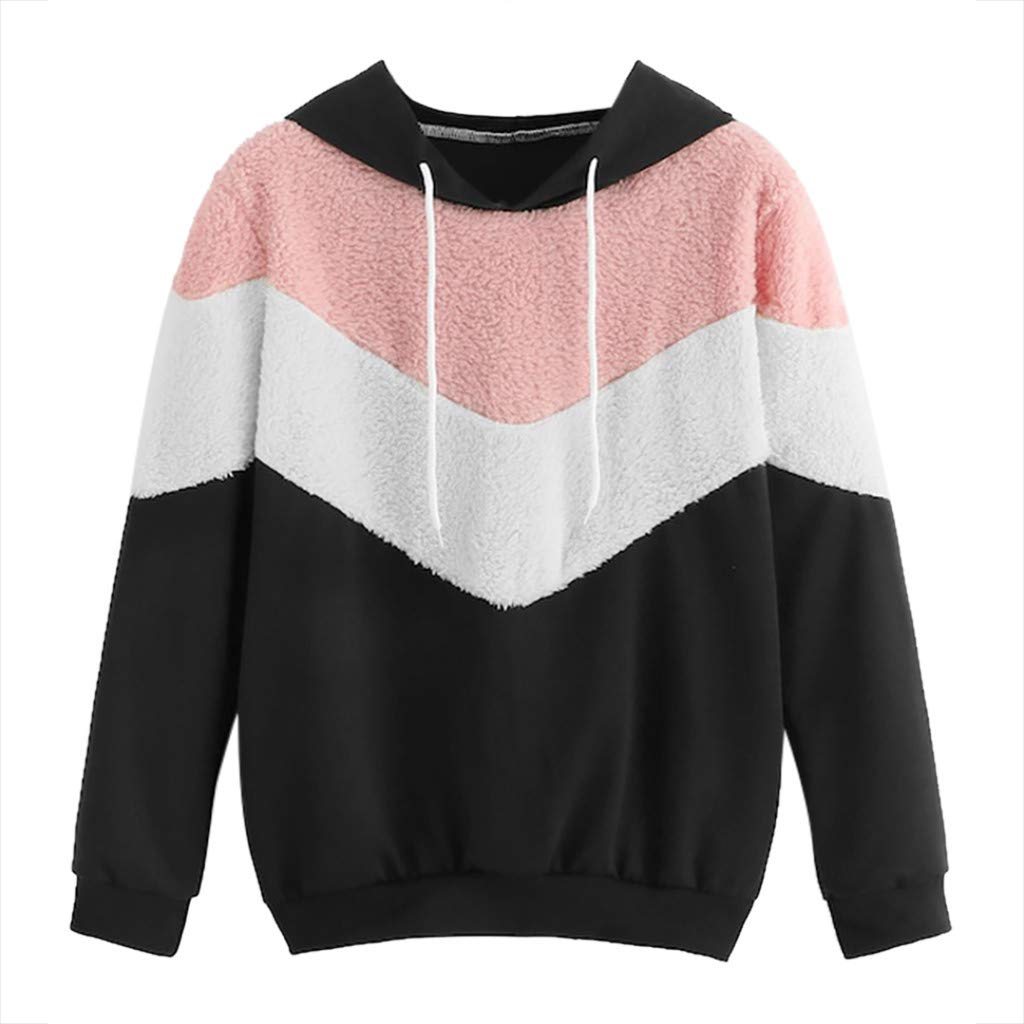 〓COOlCCI〓Women Long Sleeve Hoodie Sweatshirt Color Block Patchwork Drawstring Hoodie Plush Pullover Tops Blouse Shirts Black by COOlCCI_Womens Clothing
