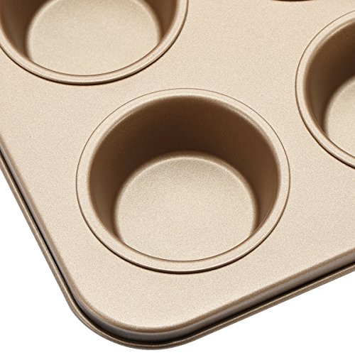 Fishonly Carbon Steel Nonstick 9 Cups Muffin Pan Cupcake Tart Mold Tray Cookie Bake Pan (Round) by fishonly (Image #2)'