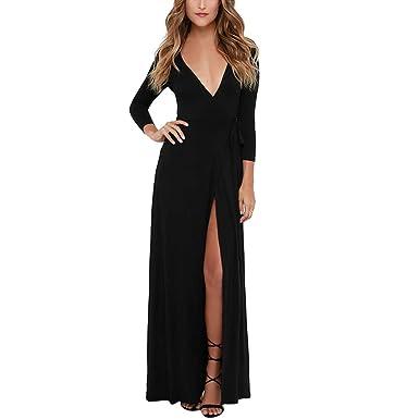 bed6fc7c8d90 LUBITY Robe Femme Noir Sexy Profond Col en V Split Tricot À Manches Longues  Robe Noir