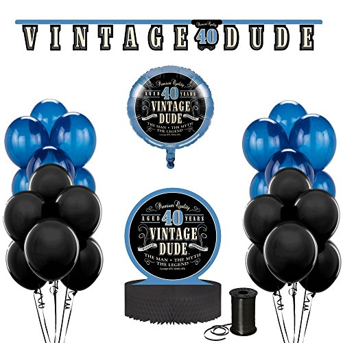 Vintage Dude 40th Birthday Party Decoration Bundle! 40th Birthday Celebration Decor Bundle Includes - Jointed Banner, Honeycomb Centerpiece, Balloons and Curling (40th Decorations)